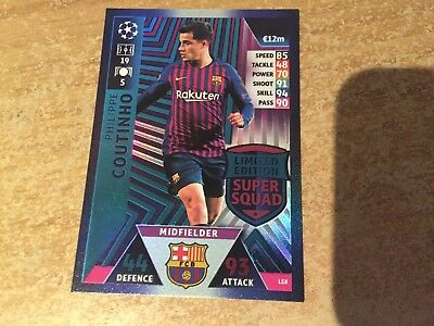 match attax 2018/2019 18 19 Philippe Coutinho Limited Edition Super Squad LE8