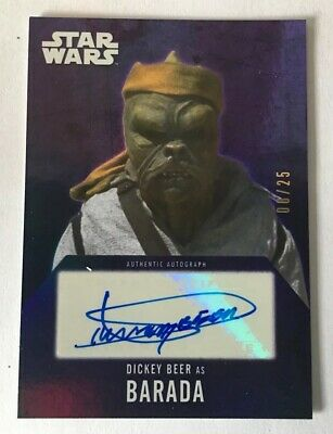 2016 Topps Star Wars Evolution Dickey Beer As Barada Purple Auto Autograph 06/25