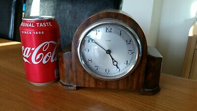 Genuine Vintage Wooden Cased Mechanical 8 Day Mantle Clock Working