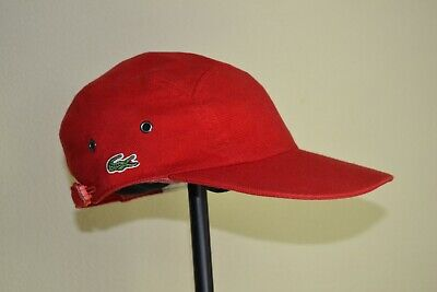 ddb5c05c Rare Lacoste Mens Red Vintage 5 Panel Cap Hat Size 1 Great Condition France