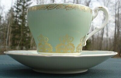 Paragon Cup & Saucer Light Green Gloss White Gold Trim 1963 Royal Warrant 397/7