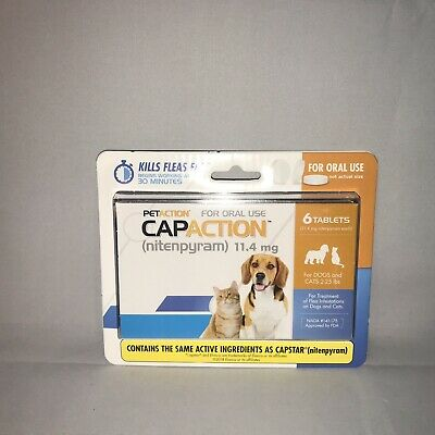 PetAction CapAction Dogs Cats 2-25lbs Oral Use Flea Treatment 6 Tablets Exp 2021