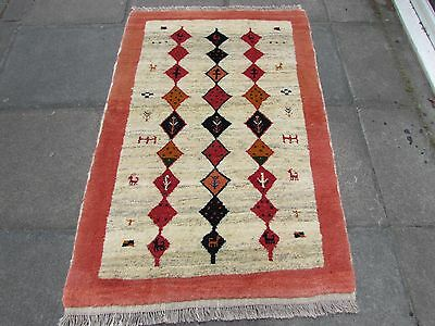 Old Hand Made Traditional Persian Rugs Oriental Cream Wool Gabbeh Rug 152x104cm