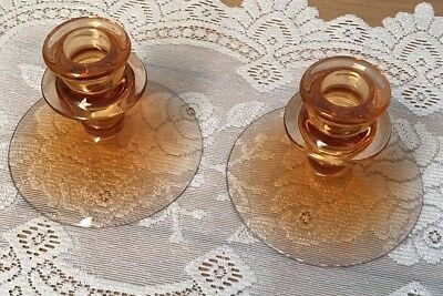 "Pink Peach Glass Candlesticks Candle Stick Pair Holders 3.5"" Tall By 4.5"" Wide"
