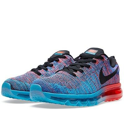 0cf2db7dda New Mens Nike Flyknit Max 2015 Blue Lagoon Bright Crimson Multi Sz 14  620469 401