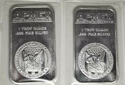 Lot of 2 - 1 Troy ounce APMEX Silver Bars -  .999 Fine