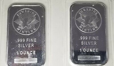 Lot of 2 - 1 Troy ounce Sunshine Mint Silver Bars -  .999 Fine