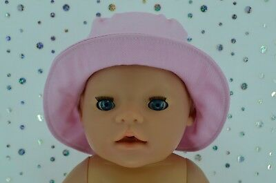 """Play n Wear Doll Clothes To Fit 17"""" Baby Born PINK DRILL SUN HAT"""