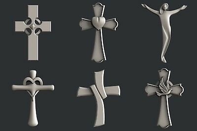 3d STL models for CNC, Artcam, Aspire, relief  Cross set4