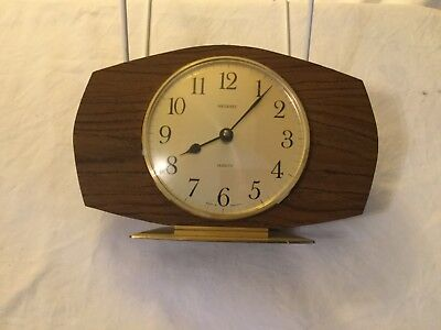 VINTAGE RETRO 1960/70's METAMEC QUARTZ MANTLE CLOCK-BROWN FORMICA STYLE, WORKING