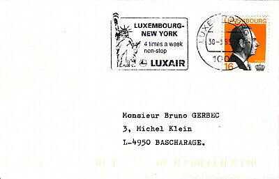 1999 Luxembourg. Luxair, Flights to New York slogan postmark cover
