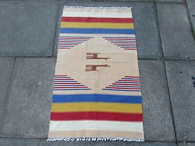 Old Traditional Hand Made Persian Oriental Wool Cream Small Kilim 109x65cm