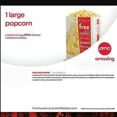 20 Large Popcorn AMC Expires June 30, 2020 fast via email same day movie movies