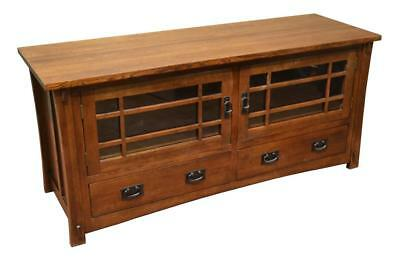 Mission Quarter Sawn White Oak Crofter Style TV Stand, Media Console