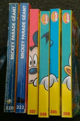 L0T 6 Mickey Parade Géant+ de 1800 pages de bd LOT N' 320 322 337 340 345 359