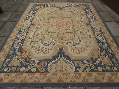 Old Hand Made French Design Wool 10x7 Brown Blue Original Aubusson 302X240cm