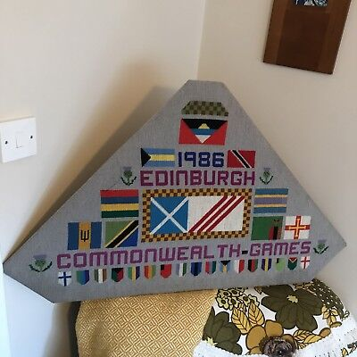 Vintage Commemorative Embroidery for Commonwealth Games Edinburgh 1986
