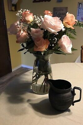 Wedgwood Black Basalt Jasperware Creamer Pitcher 4 Nations