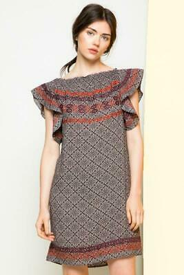 THML Embroidered Flutter Sleeve Dress