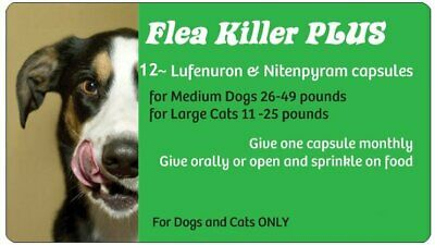 Spring Blowout Sale~Flea Killer PLUS for Dogs 26-49 lbs. ~ 12 Green Monthly Caps