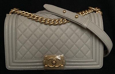 3a1ef3a64fb0 BNIB Authentic Chanel Grey Caviar Calfskin Medium Boy Flap Bag Gold-Tone  Chain