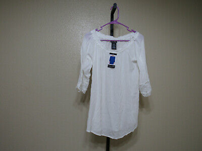 Nwt Womens Chelsea /& Theodore Gauze Summer Top White Blouse Off Shoulder 2XL L