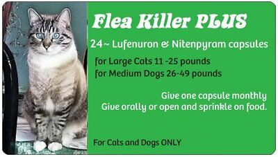 Spring Blowout Sale ~Flea Killer PLUS for Cats over 11 lbs~24 Green Monthly Caps