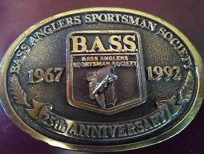 Vintage 1992 Bass Anglers Sportsman Society Belt Buckle 25Th Anniversary Buckle