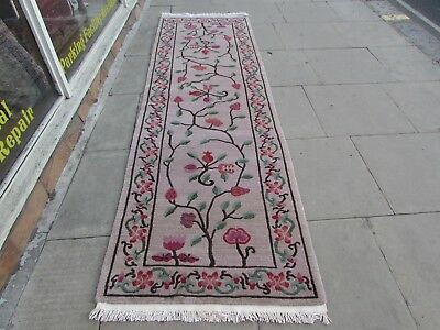Old Traditional Hand Made Chinese Oriental Wool Beige Grey Long Runner 294x93cm