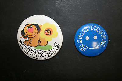 Lot of 2 Vintage Camp Fire Girls Badges Pin Backs Superstar USA America