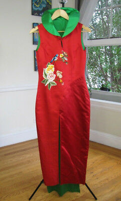 ea200ec96 VINTAGE ASIAN CHINESE Dress Red & Green Silk Women's Size (S ...