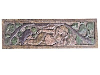 Indian Wall Hanging Vintage Hand Carved Relaxing Ganesha Headboard Wall Decor