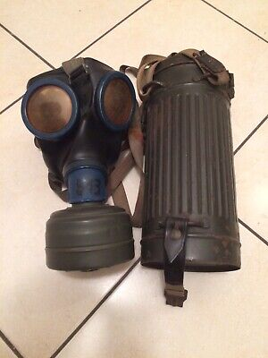 WWII M38 maschera antigas tedesca Gas Mask German Canister M38 ORIGINAL