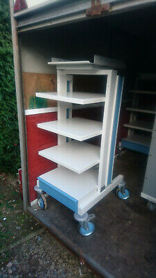 CTL Medical Equipment Stack Trolley - 4 Shelves + Drawer Strong Steel Wheeled