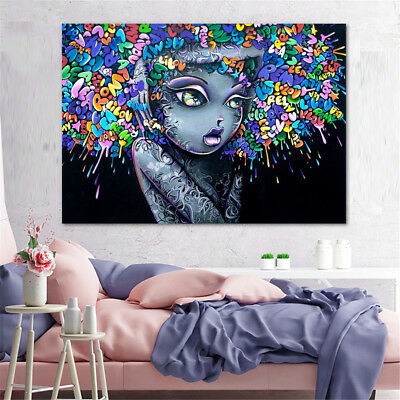 "39"" Street Art Graffiti Canvas Print Girl Hair Abstract Painting Wall Home Decor"