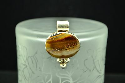 Silver Plated Oval Tiger's Eye Solitaire Pendant Charm -Beaded Accents  #18663