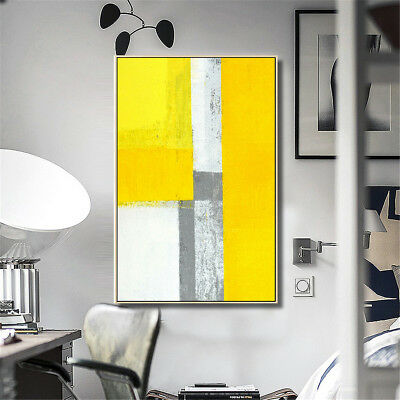 Framed Yellow Grey Canvas Print Painting Wall Art Abstract Pictures Home