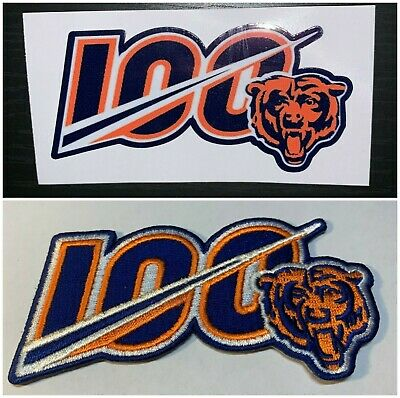 2019 Chicago Bears Nfl Patch 100Th Anniversary Jersey Style W/Free Decal Combo