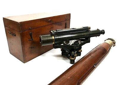 Antique Surveyor's Theodolite by W.F. Stanley / London On Wooden Tripod / Boxed