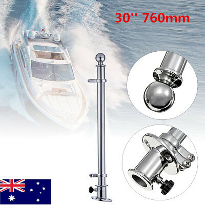 30'' 316 Stainless Steel Flag Pole With Socket Base For Marine Boat Yacht 760mm