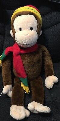 "Macys Curious George Stuffed Animal Hat And Scarf 24"" Plush"