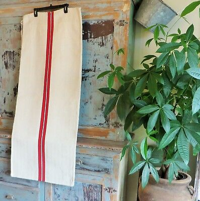 Vintage Antique Grain Sack Hemp Linen Red & Black Stripe European Feed Sack