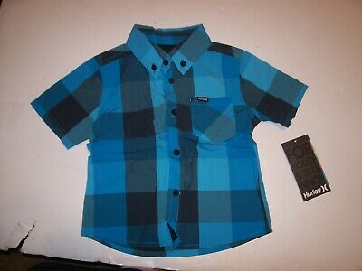 HURLEY button front short sleeve shirt boy baby turquoise blue plaid 12M 12 mo