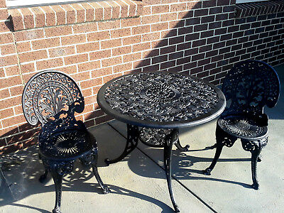 Vintage Cast Metal Alloy Chairs & Table Patio Garden Setting Extra Large Table
