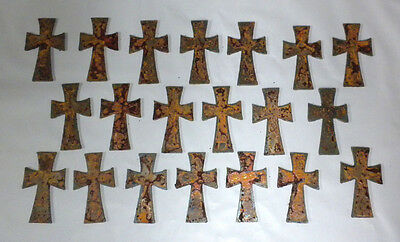 Lot of 20 Rusty Crosses 2.5 in Metal Wall Art Stencil Ornament Craft Magnet