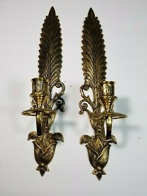 Vintage Brass Wall Sconces Candle Holders Ornate Fern Leaf Feather