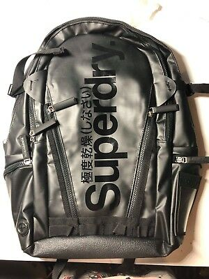 NEW Superdry Tarp Back Pack Backpack, Black on BLACK