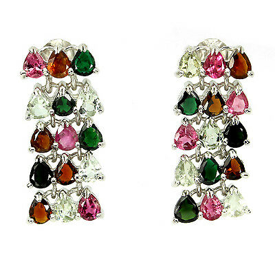 DELUXE NATURAL PEAR 5x4mmTOP FANCY COLOR TOURMALINE STERLING 925 SILVER EARRINGS