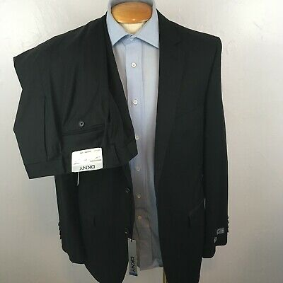 New dkny 2 piece mens suit black slim fit 40L 100% wool small pattern nwt ea0092