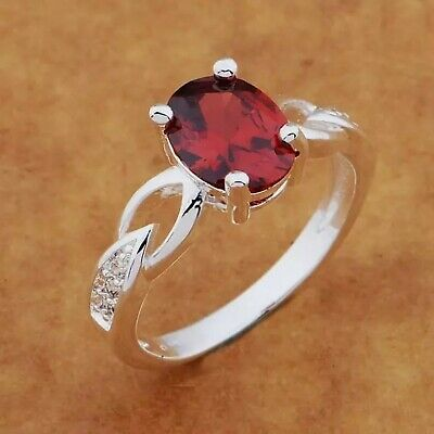 925 sterling silver ring Set With Fine Cut Gemstones (Synthetic Ruby / Diamonds)
